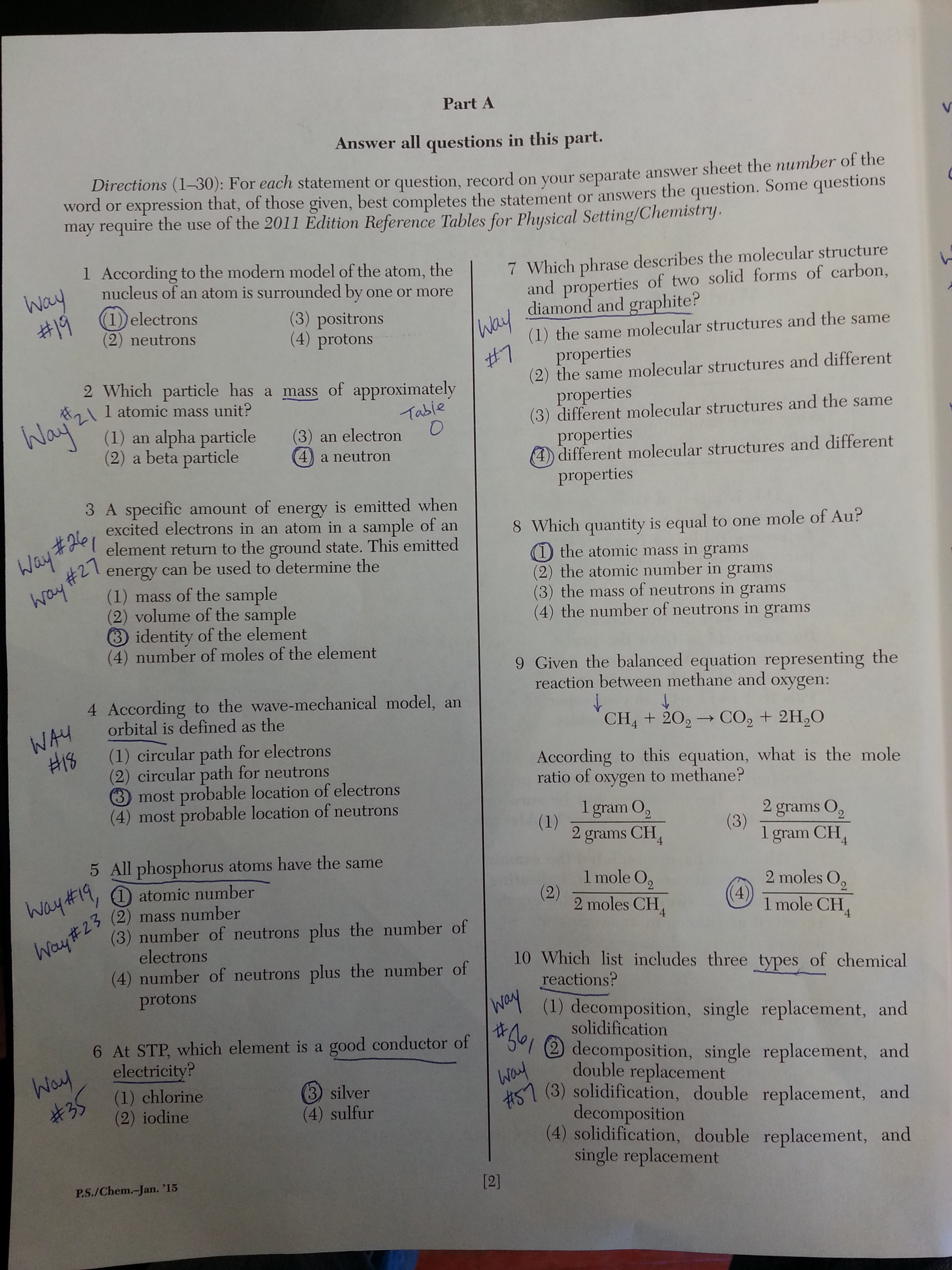chemistry regents questions answers ways 20150128 144756